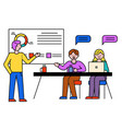 business consulting colleagues and whiteboard vector image vector image