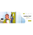 businesswoman luaghing sticky note with text kick vector image