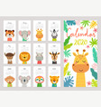 calendar 2020 cute monthly with jungle vector image vector image