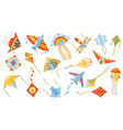 cartoon children games paper flying kites toys vector image vector image