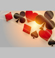 casino playing cards symbols with glowing light vector image