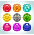 Colorful medallions with nature elements icons vector image vector image