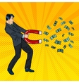 Confident Businessman Attracts Money with a Magnet vector image vector image