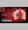 coronavirus outbreak on dark red background vector image