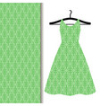 dress fabric with green geometric pattern vector image vector image