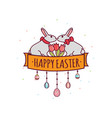 easter day with rabbit-05 vector image vector image