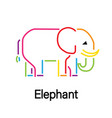 elephant colorful lines icon vector image