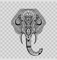 elephant head zentangle stylized on transparent vector image vector image