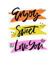 enjoy sweet love you lettering cliparts set vector image