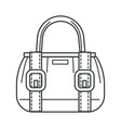 female bag with stripes and clasps linear icon vector image