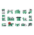 flat icon collection of electric machine tools vector image vector image