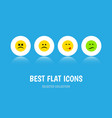 flat icon gesture set of cross-eyed face vector image vector image