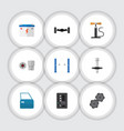 flat icon workshop set of turnscrew muffler vector image vector image