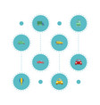 flat icons airship lorry cab and other vector image vector image