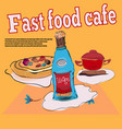 food items for cafe in bright colors in horizontal vector image vector image