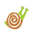 funny snail character crawling cute green mollusk vector image