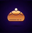 gold jewish sweet bakery icon isolated on dark vector image vector image