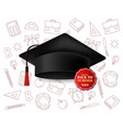 graduation cap realistic back to school vector image vector image