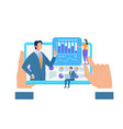 hands hold tablet with hansome businessman coach vector image vector image