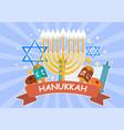 happy hanukkah festive card vector image vector image