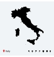 High detailed map of Italy with navigation pins vector image vector image
