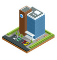 isometric modern business center with parking vector image