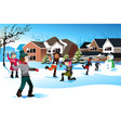 kids playing snow ball fight vector image vector image