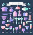 kitchen ware and restaurant glassware icons set vector image vector image