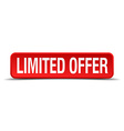 limited offer red 3d square button isolated on vector image vector image