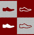 men shoes sign bordo and white icons and vector image