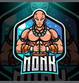 monk esport mascot logo design vector image