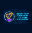 neon glowing sign of pizza in circle frame with vector image