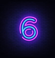 number six symbol neon sign number six vector image vector image