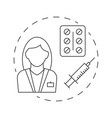 nurse with syringe and tablets outline vector image