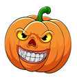 orange pumpkin with big smile and yellow eyes vector image vector image