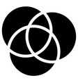 overlapping circles icon - contour of 3 vector image