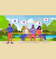 people using online mobile app social media vector image vector image