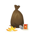 plastic bag with collected garbage isolated icon vector image