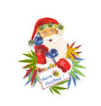 santa claus with a tube phone with cannabis leaves vector image vector image