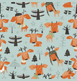 seamless pattern with cute cartoon little deers vector image vector image