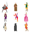 set different medieval people in colorful vector image vector image