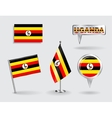 Set of Ugandan pin icon and map pointer flags vector image vector image