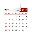 simple calendar 2017 year march month vector image vector image