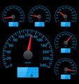 speedometer collection round black gauge with vector image vector image