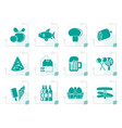 Stylized food drink and shop icons