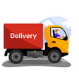 truck with word delivery on workbody and driver vector image vector image