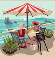 two girlfriends in tropical cafe vector image vector image
