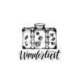 wanderlust poster with hand lettering vector image vector image