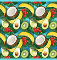 watercolor fruit colorful tropical pattern vector image
