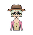 woman half body with hat and glasses and blouse vector image vector image
